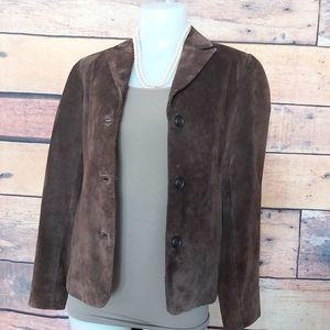 Jackets & Blazers - Brown suede jacket coat blazer XS fit larger